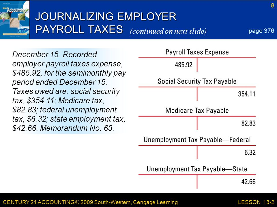 CENTURY 21 ACCOUNTING © 2009 South-Western, Cengage Learning 8 LESSON 13-2 JOURNALIZING EMPLOYER PAYROLL TAXES page 376 December 15.