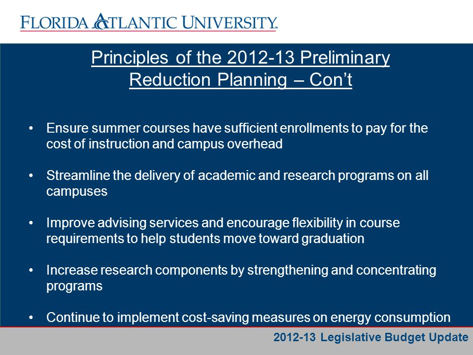 Business Services Principles of the 2012-13 Preliminary Reduction Planning – Con't Examine staffing efficiencies and where appropriate, move 12- month staff positions to 9- or 10-month positions Work with State College partners to better serve the region and students with appropriate degree programs Increase revenue by admitting a larger, qualified entering class 2012-13 Legislative Budget Update