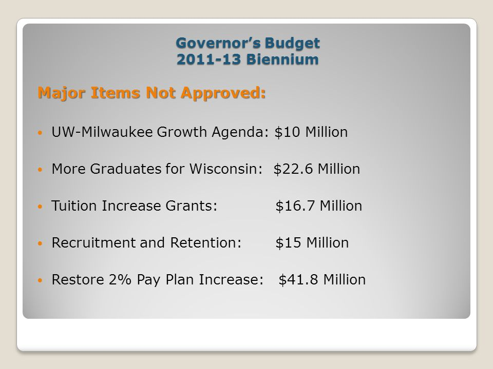 Governor's Budget 2011-13 Biennium Major Items Not Approved: UW-Milwaukee Growth Agenda: $10 Million More Graduates for Wisconsin: $22.6 Million Tuition Increase Grants: $16.7 Million Recruitment and Retention: $15 Million Restore 2% Pay Plan Increase: $41.8 Million