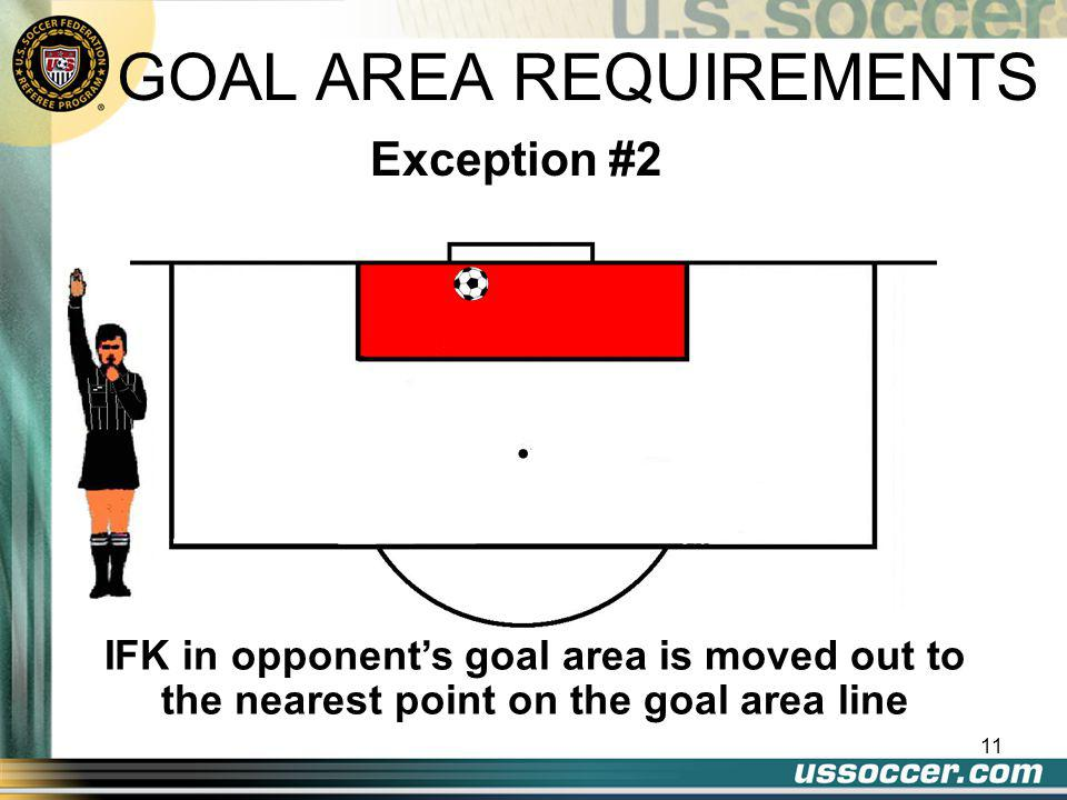 10 If given to a team within own goal area, can be moved to anywhere in goal area. Exception #1 GOAL AREA REQUIREMENTS 1.All opponents must be out of