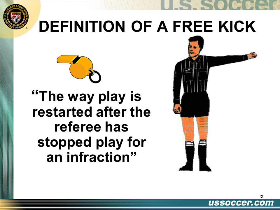 """4 9 TOPICS (cont') 5.""""Quick"""" free kick 6.""""Ceremonial"""" free kick 7.Encroachment 8.Restart mechanics 9.When a free kick is in play vs. when goal can be"""