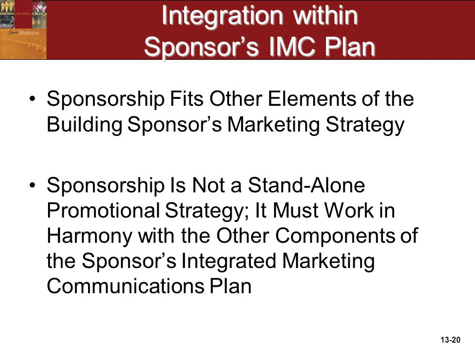 13-20 Integration within Sponsor's IMC Plan Sponsorship Fits Other Elements of the Building Sponsor's Marketing Strategy Sponsorship Is Not a Stand-Alone Promotional Strategy; It Must Work in Harmony with the Other Components of the Sponsor's Integrated Marketing Communications Plan