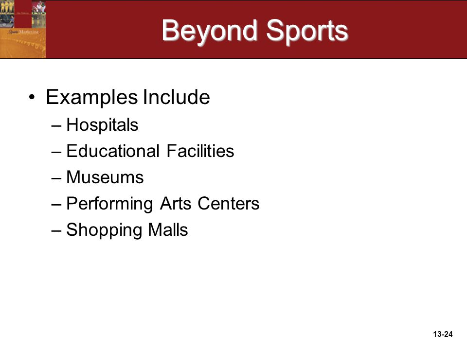 13-24 Beyond Sports Examples Include –Hospitals –Educational Facilities –Museums –Performing Arts Centers –Shopping Malls