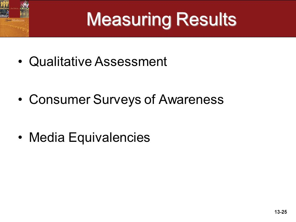 13-25 Measuring Results Qualitative Assessment Consumer Surveys of Awareness Media Equivalencies