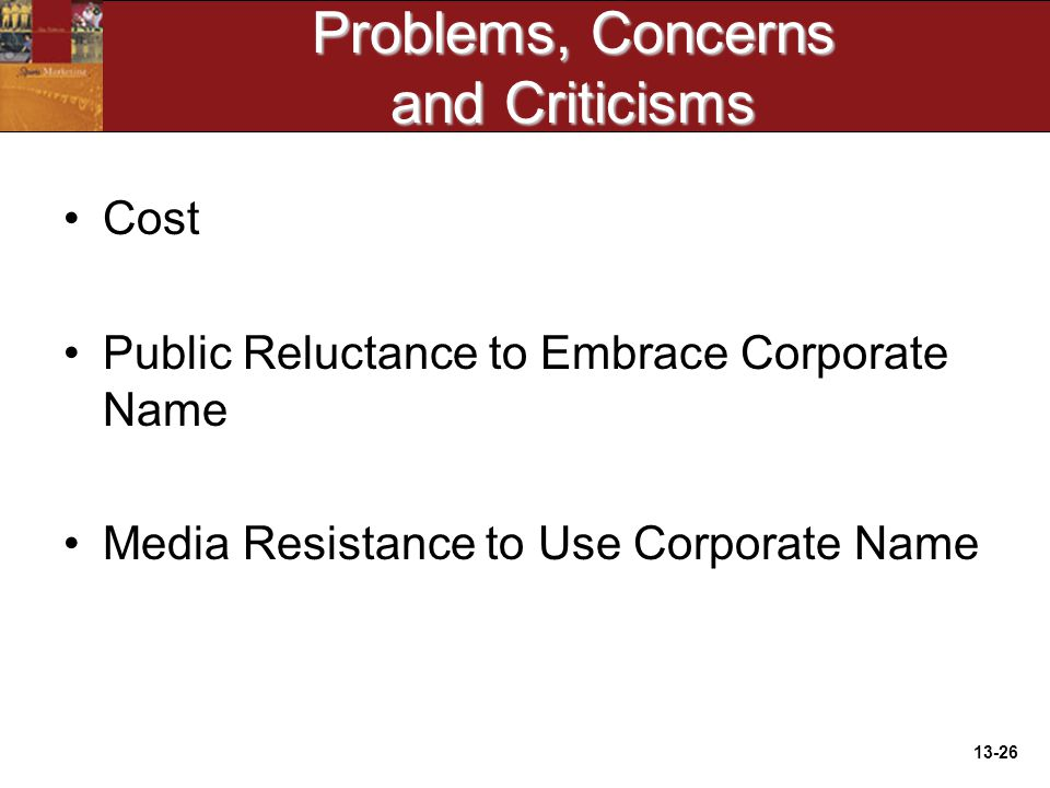13-26 Problems, Concerns and Criticisms Cost Public Reluctance to Embrace Corporate Name Media Resistance to Use Corporate Name