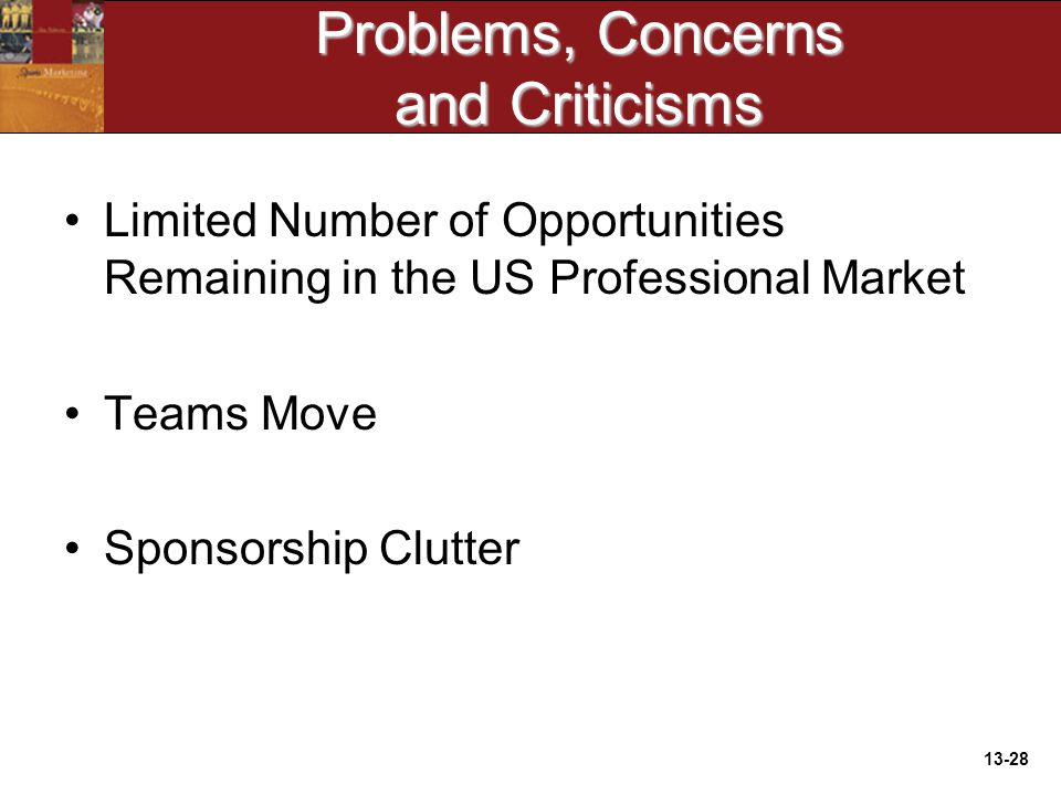 13-28 Problems, Concerns and Criticisms Limited Number of Opportunities Remaining in the US Professional Market Teams Move Sponsorship Clutter