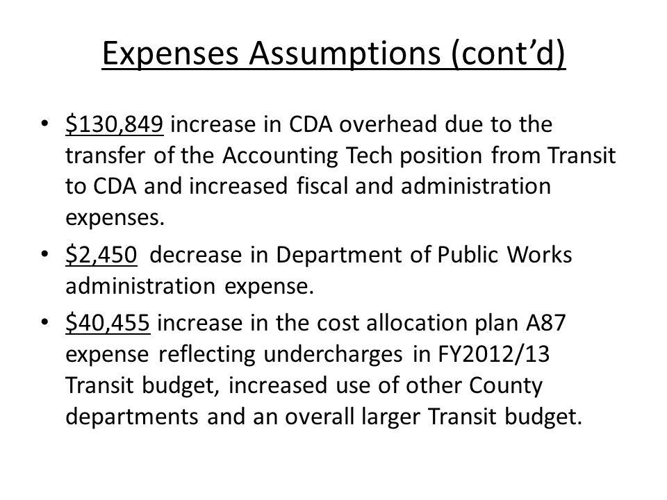 Expenses Assumptions (cont'd) $130,849 increase in CDA overhead due to the transfer of the Accounting Tech position from Transit to CDA and increased
