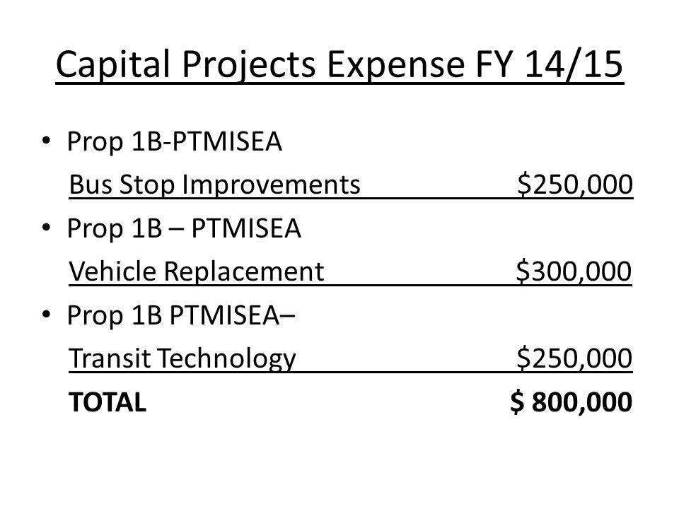 Capital Projects Expense FY 14/15 Prop 1B-PTMISEA Bus Stop Improvements $250,000 Prop 1B – PTMISEA Vehicle Replacement $300,000 Prop 1B PTMISEA– Transit Technology$250,000 TOTAL $ 800,000