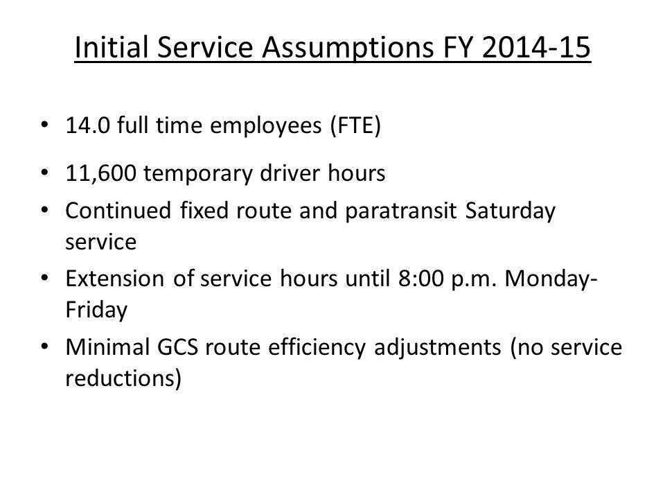 Initial Service Assumptions FY 2014-15 14.0 full time employees (FTE) 11,600 temporary driver hours Continued fixed route and paratransit Saturday ser