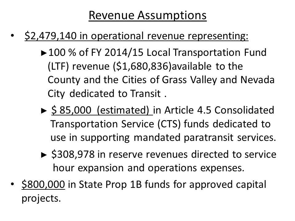 Revenue Assumptions $2,479,140 in operational revenue representing: ► 100 % of FY 2014/15 Local Transportation Fund (LTF) revenue ($1,680,836)available to the County and the Cities of Grass Valley and Nevada City dedicated to Transit.