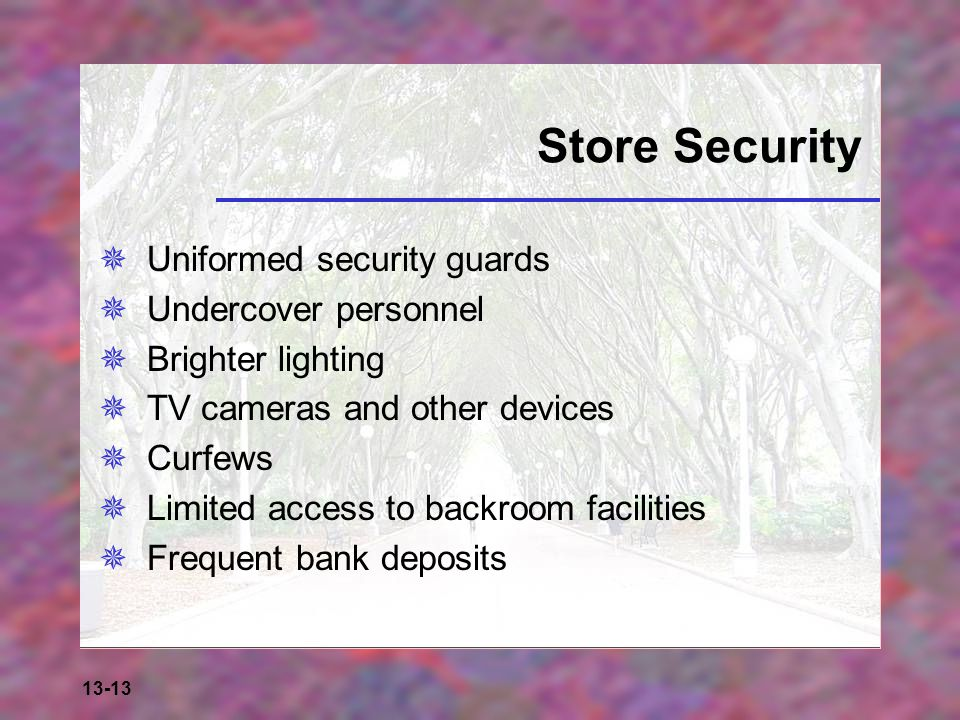 13-13 Store Security  Uniformed security guards  Undercover personnel  Brighter lighting  TV cameras and other devices  Curfews  Limited access