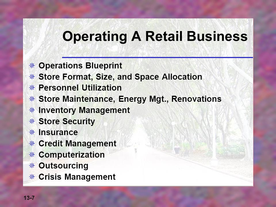 13-7 Operating A Retail Business  Operations Blueprint  Store Format, Size, and Space Allocation  Personnel Utilization  Store Maintenance, Energy
