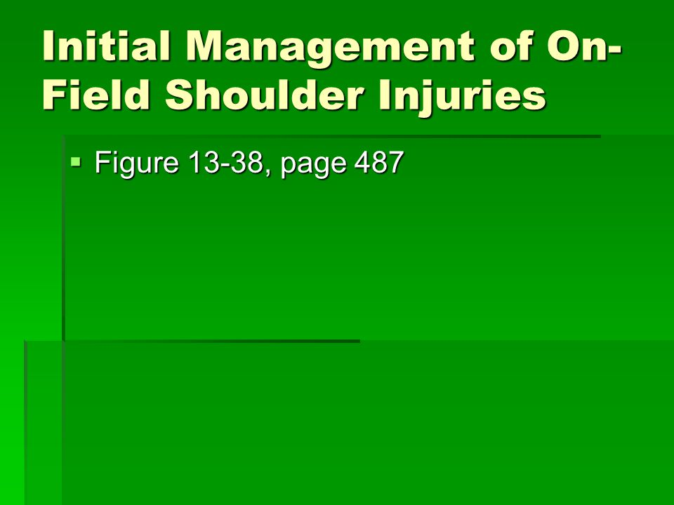 Initial Management of On- Field Shoulder Injuries  Figure 13-38, page 487