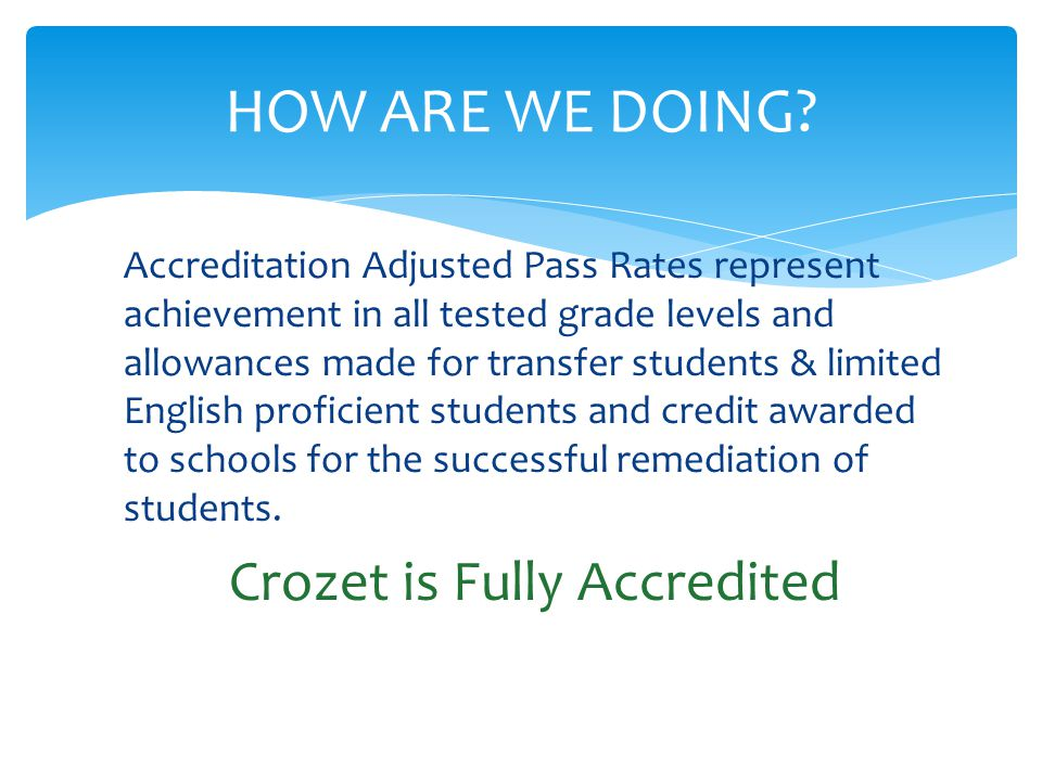 Accreditation Adjusted Pass Rates represent achievement in all tested grade levels and allowances made for transfer students & limited English proficient students and credit awarded to schools for the successful remediation of students.