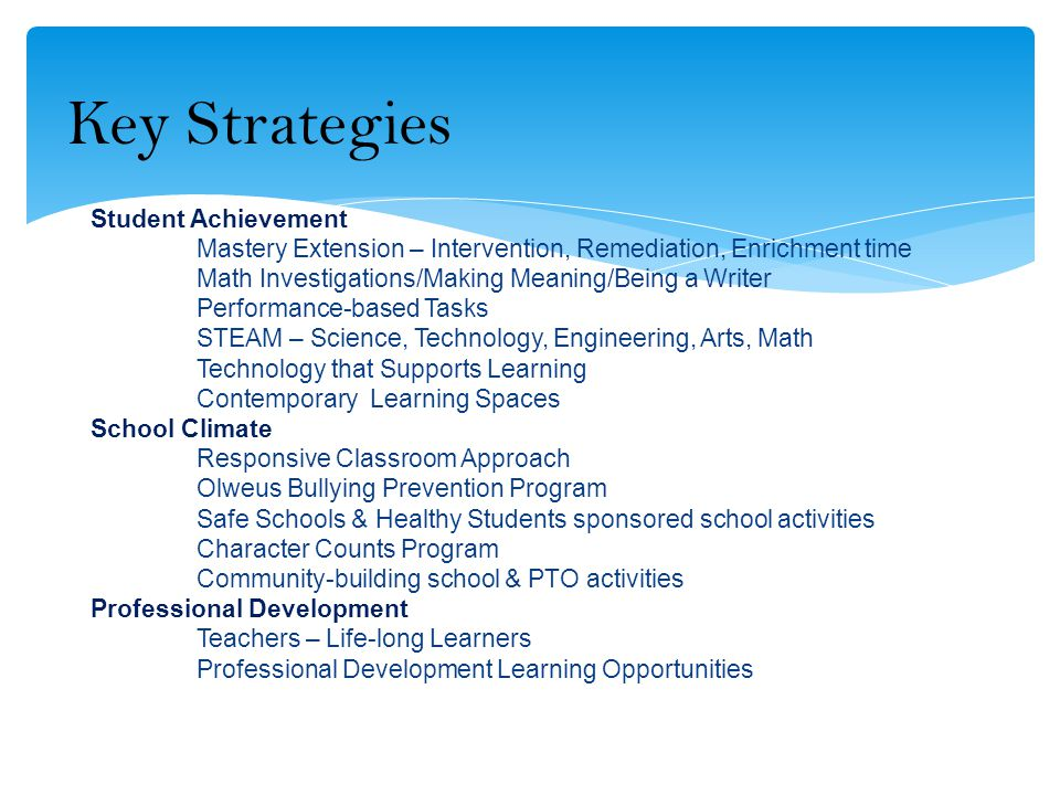 Student Achievement Mastery Extension – Intervention, Remediation, Enrichment time Math Investigations/Making Meaning/Being a Writer Performance-based Tasks STEAM – Science, Technology, Engineering, Arts, Math Technology that Supports Learning Contemporary Learning Spaces School Climate Responsive Classroom Approach Olweus Bullying Prevention Program Safe Schools & Healthy Students sponsored school activities Character Counts Program Community-building school & PTO activities Professional Development Teachers – Life-long Learners Professional Development Learning Opportunities Key Strategies