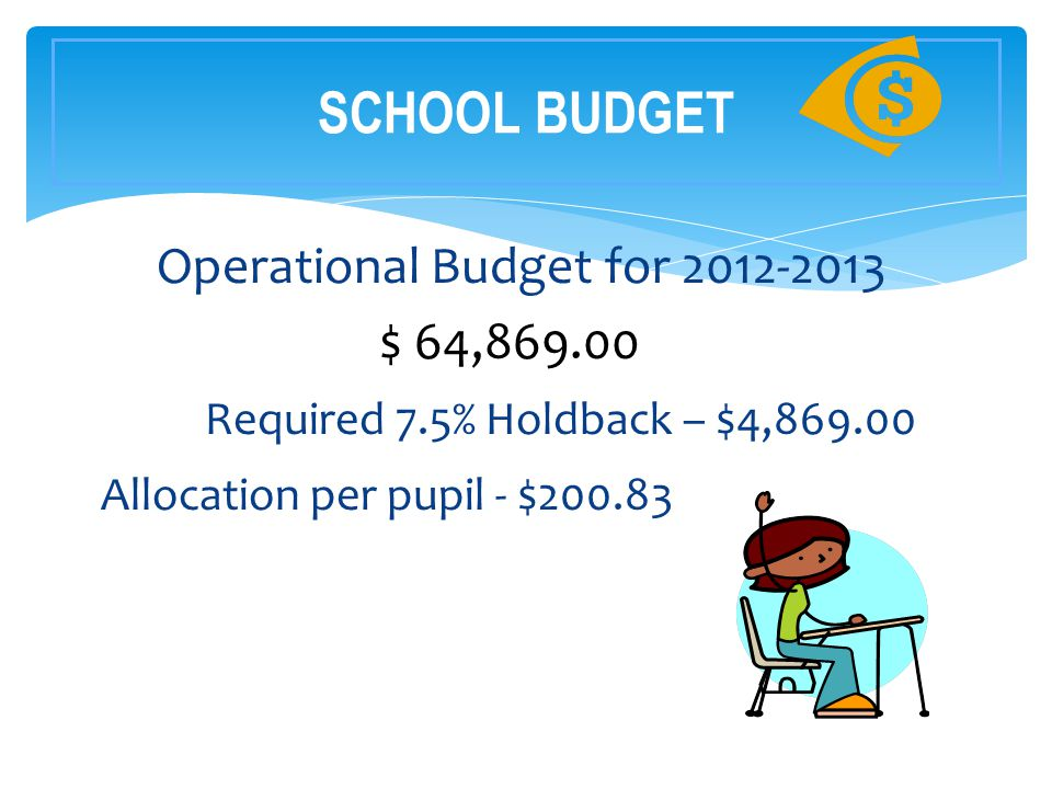 Operational Budget for 2012-2013 $ 64,869.00 Required 7.5% Holdback – $4,869.00 Allocation per pupil - $200.83 SCHOOL BUDGET