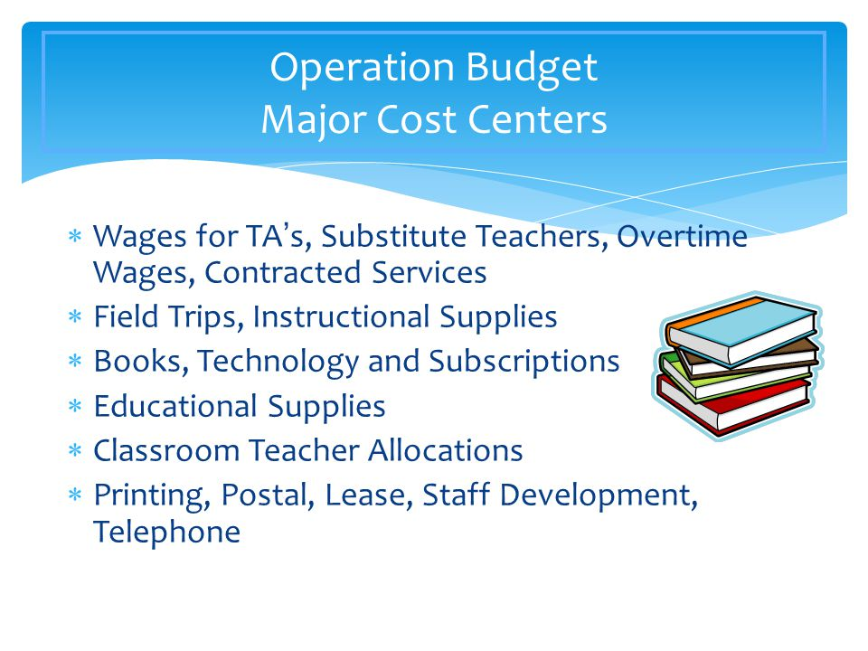  Wages for TA's, Substitute Teachers, Overtime Wages, Contracted Services  Field Trips, Instructional Supplies  Books, Technology and Subscriptions  Educational Supplies  Classroom Teacher Allocations  Printing, Postal, Lease, Staff Development, Telephone Operation Budget Major Cost Centers