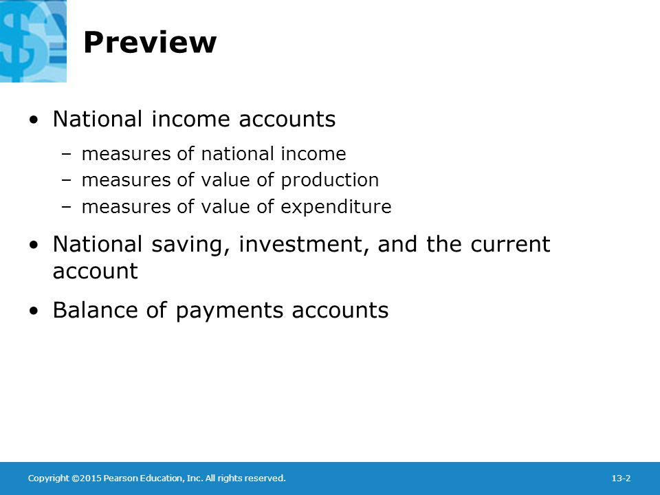 Copyright ©2015 Pearson Education, Inc. All rights reserved.13-2 Preview National income accounts –measures of national income –measures of value of p