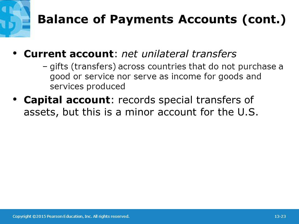 Copyright ©2015 Pearson Education, Inc. All rights reserved.13-23 Balance of Payments Accounts (cont.) Current account: net unilateral transfers –gift