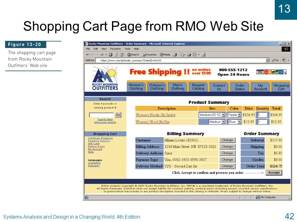 13 Systems Analysis and Design in a Changing World, 4th Edition 42 Shopping Cart Page from RMO Web Site
