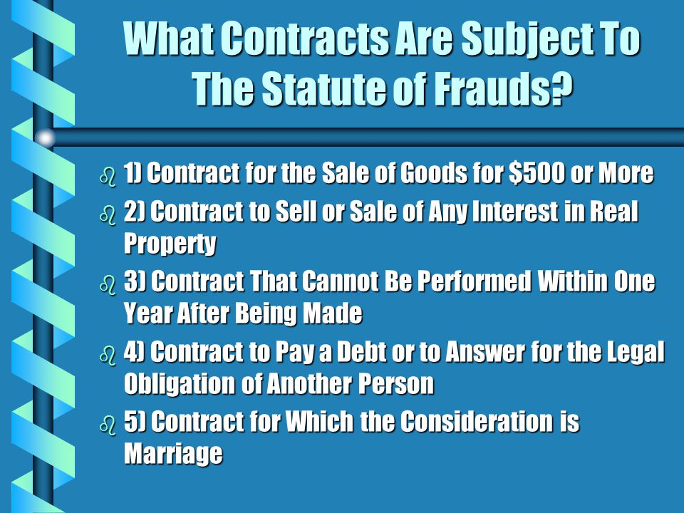 What Contracts Are Subject To The Statute of Frauds.