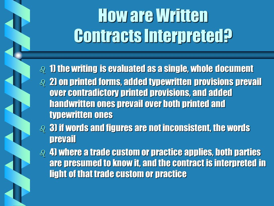 How are Written Contracts Interpreted.