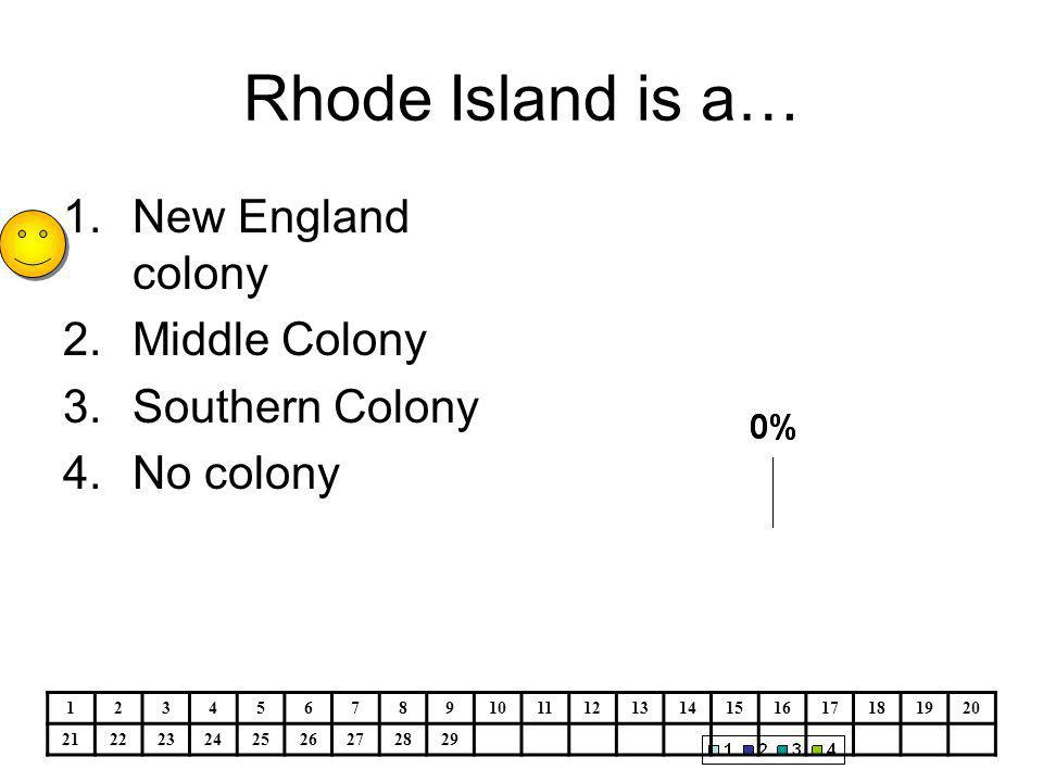 Rhode Island is a… 1.New England colony 2.Middle Colony 3.Southern Colony 4.No colony 1234567891011121314151617181920 212223242526272829