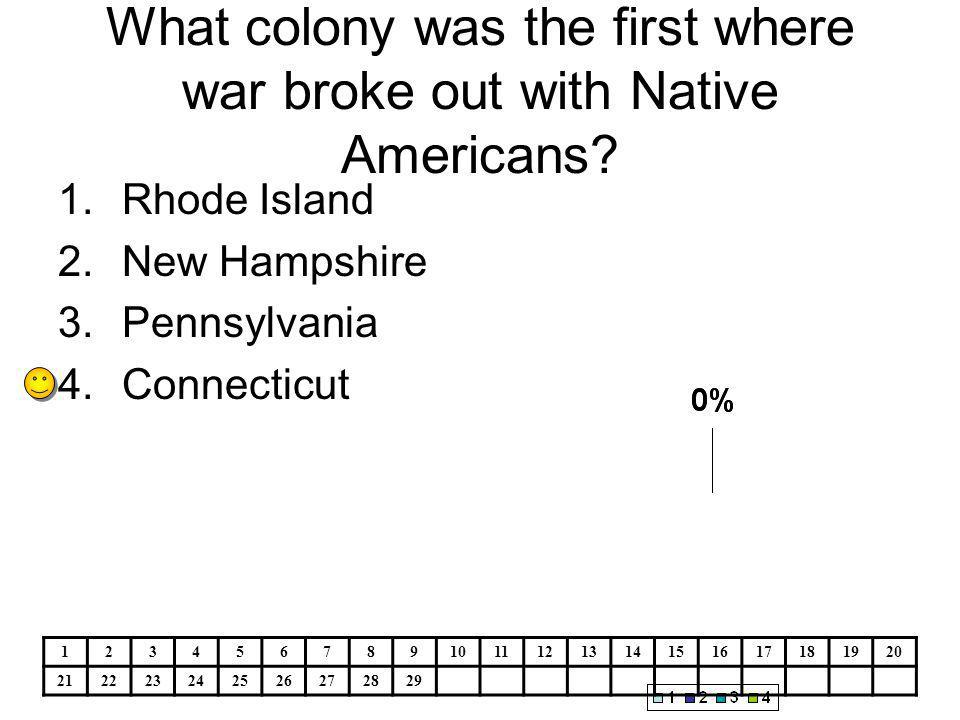 What colony was the first where war broke out with Native Americans.