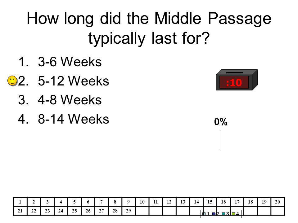 How long did the Middle Passage typically last for.