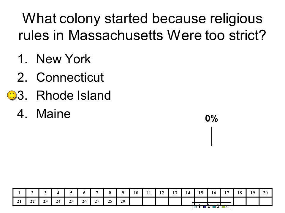 What colony started because religious rules in Massachusetts Were too strict.