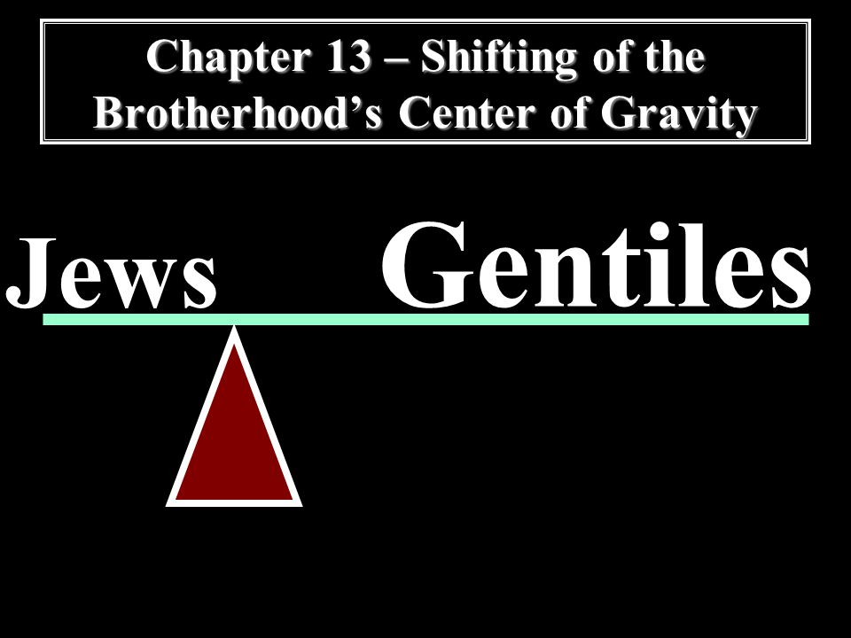 Chapter 13 – Shifting of the Brotherhood's Center of Gravity Jews Gentiles
