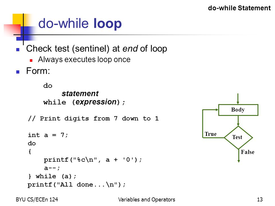 BYU CS/ECEn 124Variables and Operators13 do-while loop Check test (sentinel) at end of loop Always executes loop once Form: do statement while ( expression ); // Print digits from 7 down to 1 int a = 7; do { printf( %c\n , a + 0 ); a--; } while (a); printf( All done...\n ); Test Body True False do-while Statement