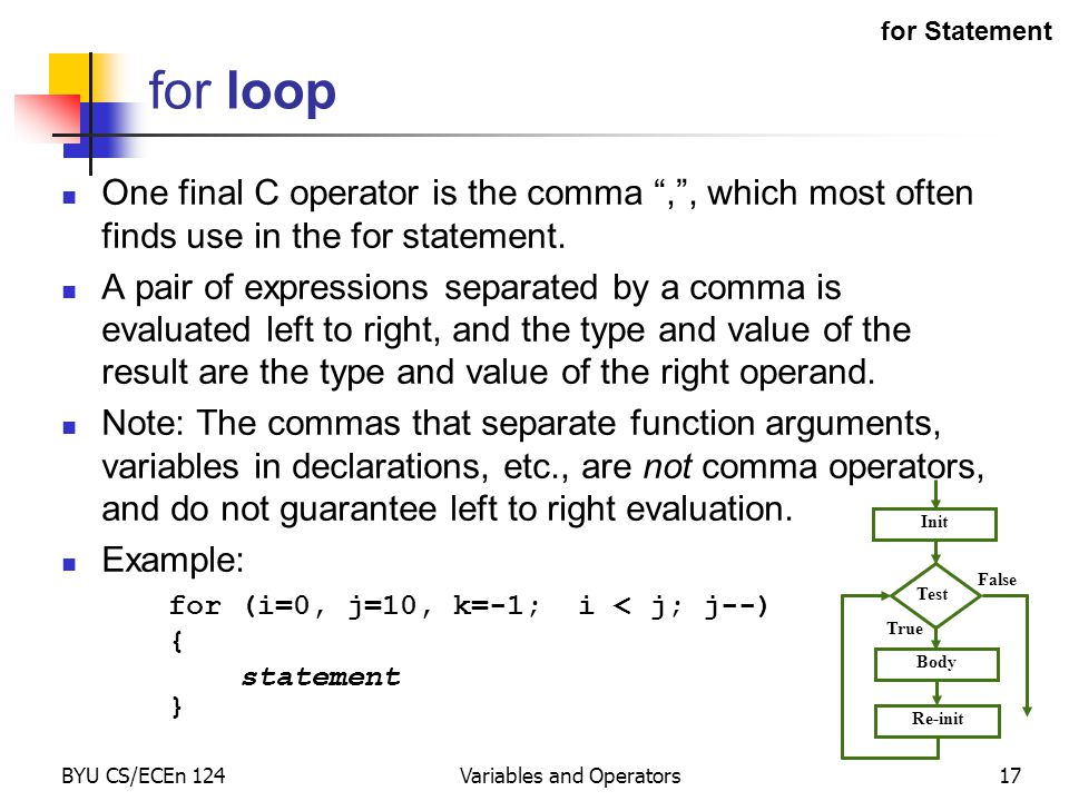 """BYU CS/ECEn 124Variables and Operators17 One final C operator is the comma """","""", which most often finds use in the for statement. A pair of expressions"""