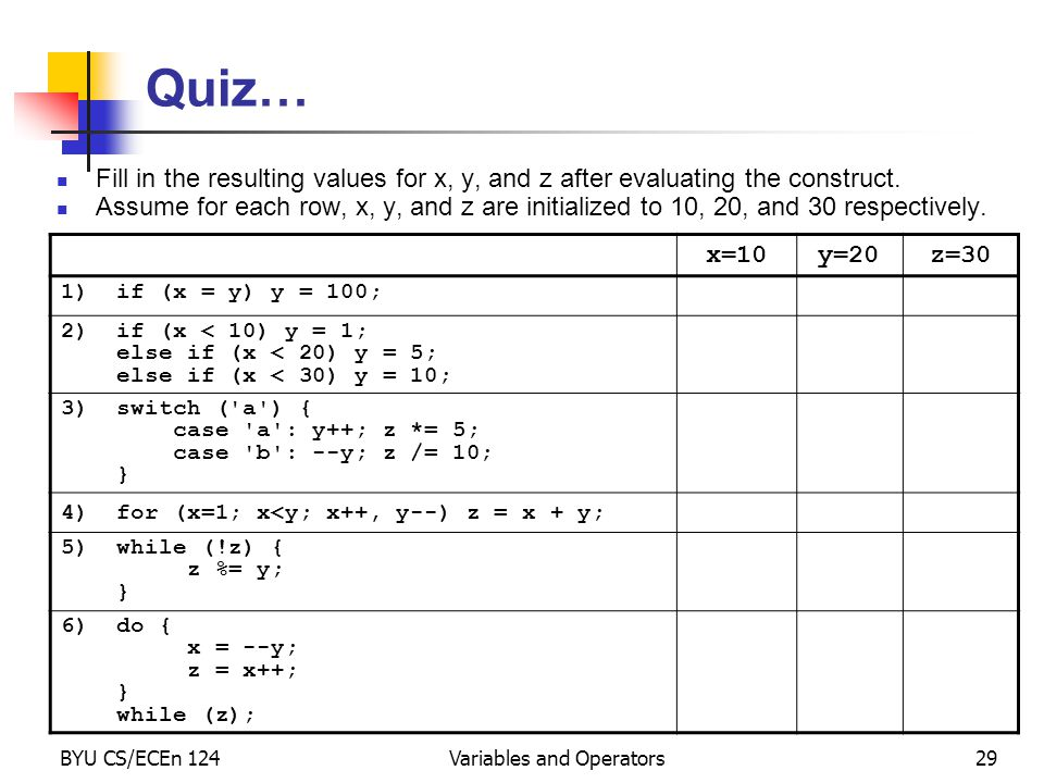 BYU CS/ECEn 124Variables and Operators29 Quiz… Fill in the resulting values for x, y, and z after evaluating the construct.