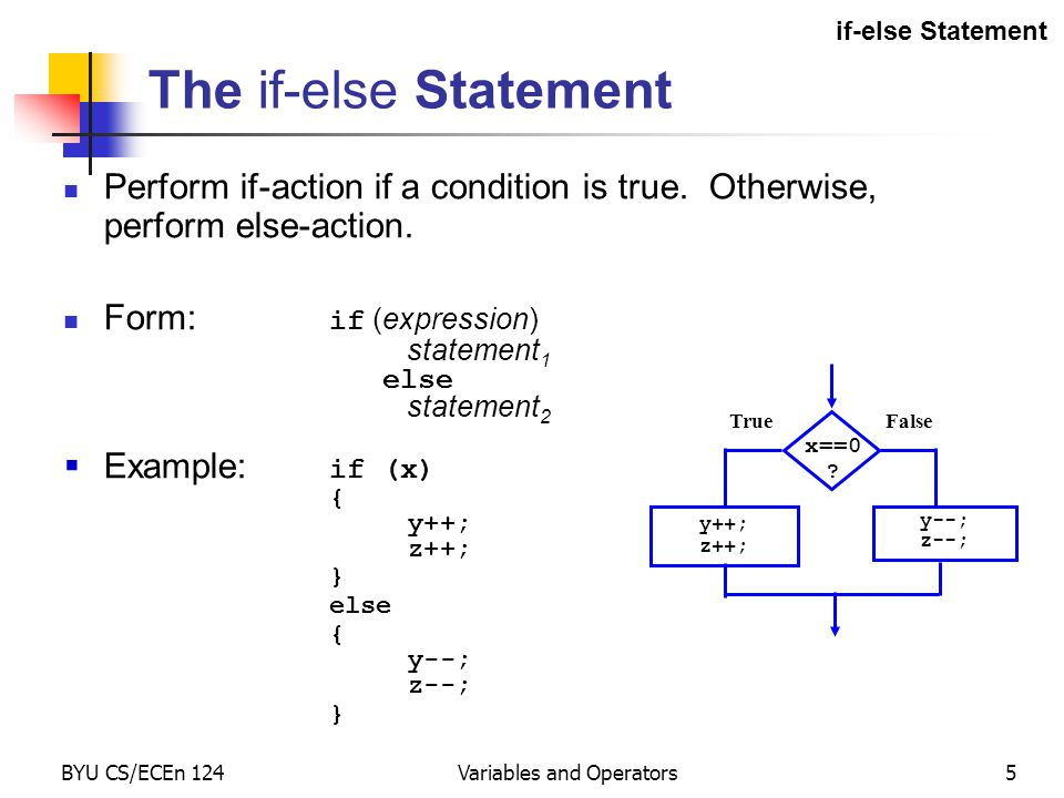 BYU CS/ECEn 124Variables and Operators5 The if-else Statement Perform if-action if a condition is true. Otherwise, perform else-action. Form: if (expr