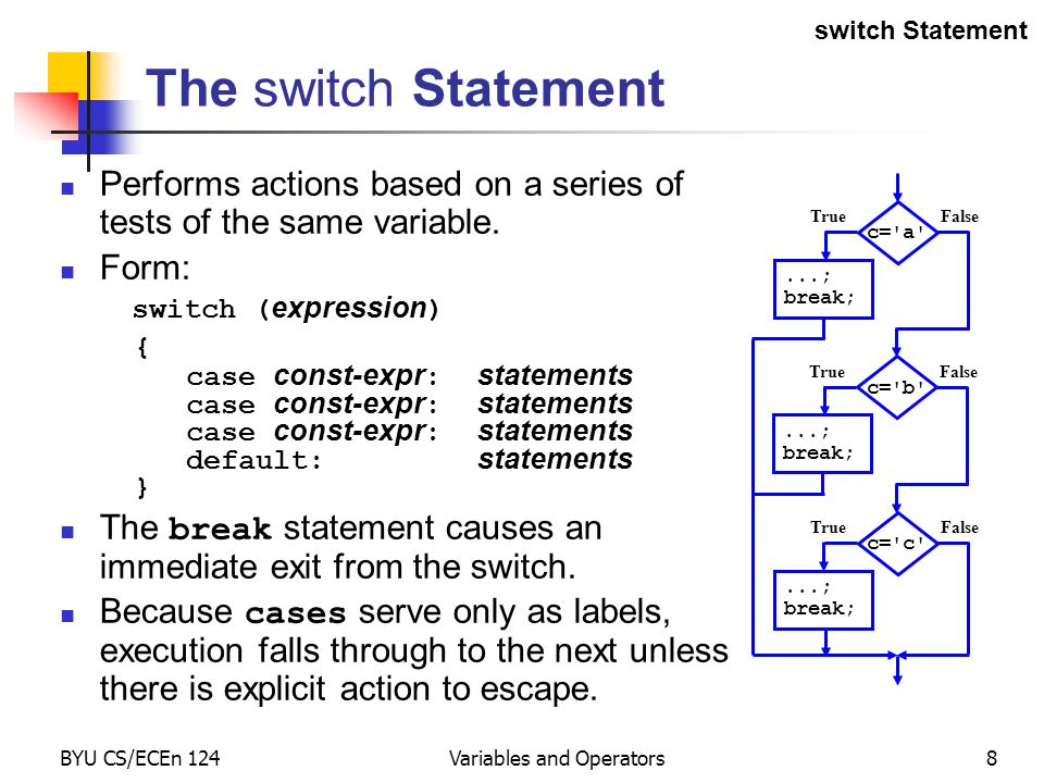 BYU CS/ECEn 124Variables and Operators8 The switch Statement Performs actions based on a series of tests of the same variable.