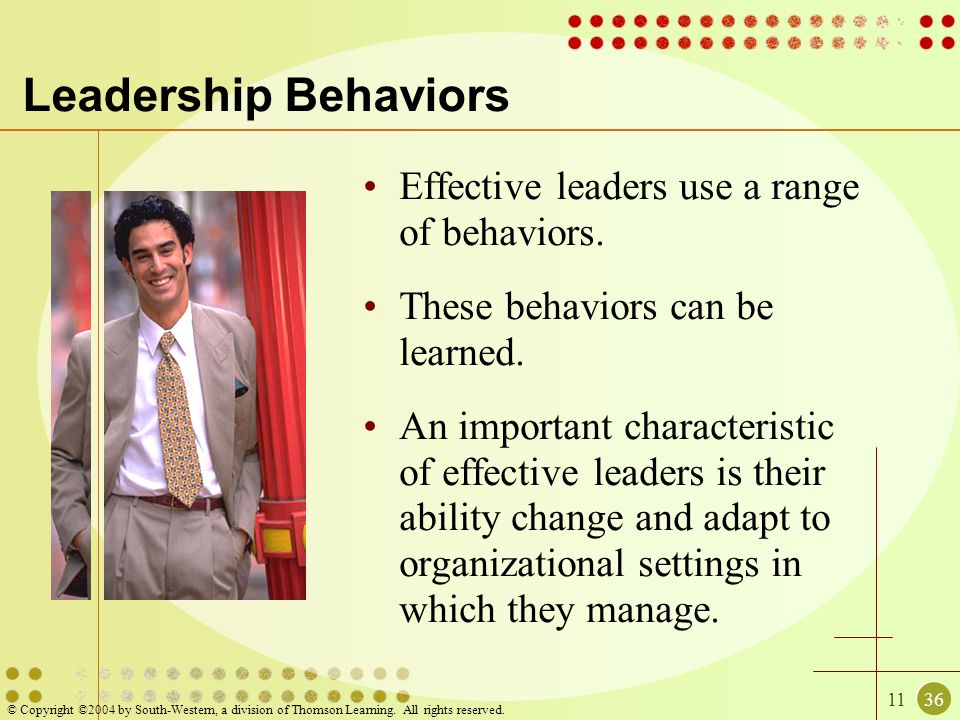 1136 © Copyright ©2004 by South-Western, a division of Thomson Learning. All rights reserved. Leadership Behaviors Effective leaders use a range of be