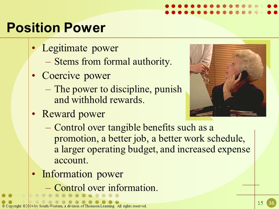 1536 © Copyright ©2004 by South-Western, a division of Thomson Learning. All rights reserved. Position Power Legitimate power –Stems from formal autho