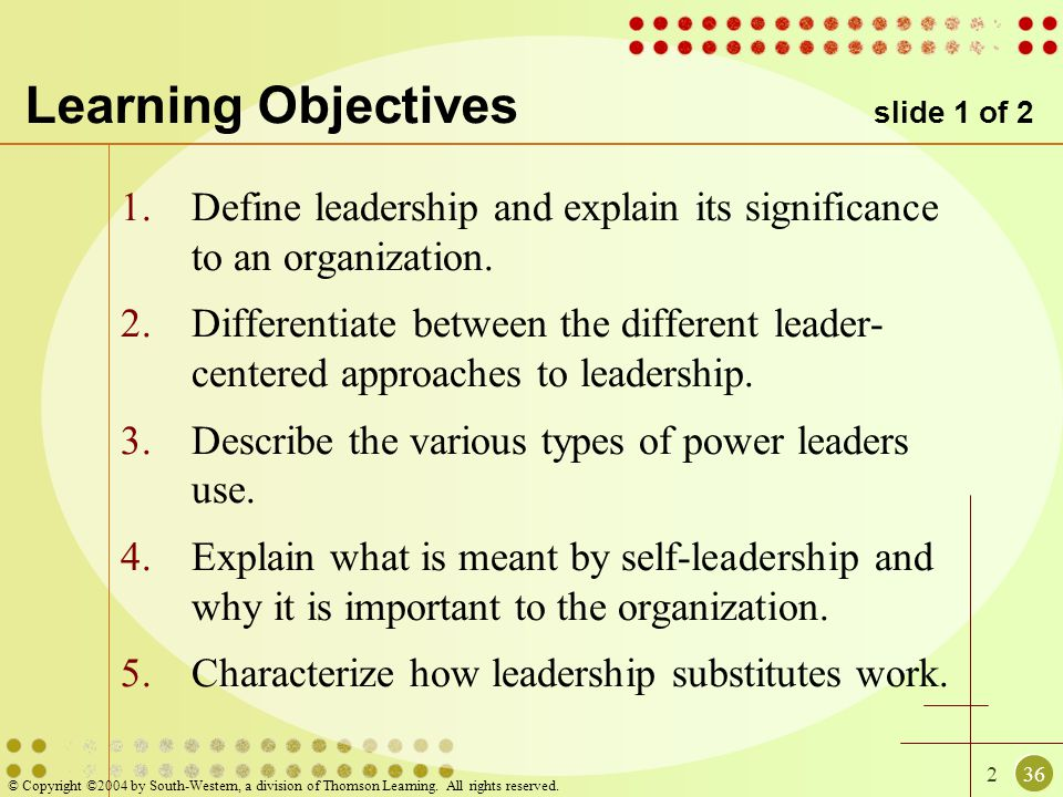 236 © Copyright ©2004 by South-Western, a division of Thomson Learning. All rights reserved. Learning Objectives slide 1 of 2 1.Define leadership and