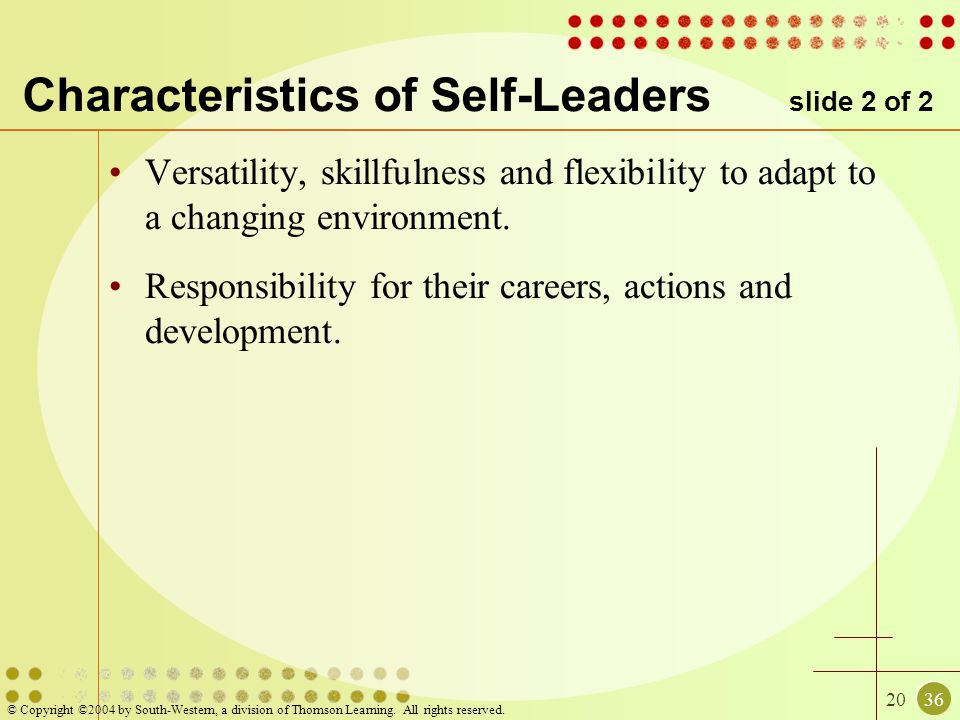 2036 © Copyright ©2004 by South-Western, a division of Thomson Learning. All rights reserved. Characteristics of Self-Leaders slide 2 of 2 Versatility