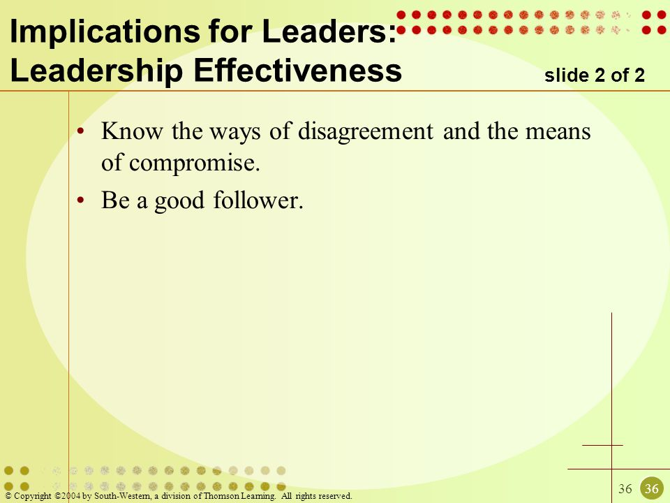 36 © Copyright ©2004 by South-Western, a division of Thomson Learning. All rights reserved. Implications for Leaders: Leadership Effectiveness slide 2