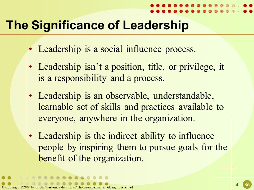 436 © Copyright ©2004 by South-Western, a division of Thomson Learning. All rights reserved. The Significance of Leadership Leadership is a social inf