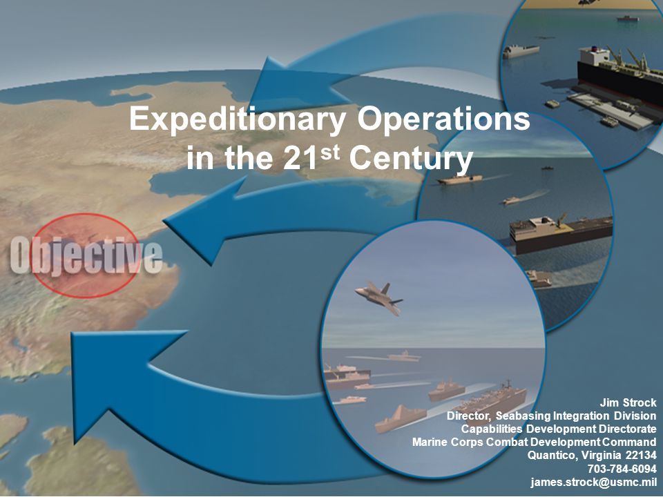 1 Expeditionary Operations in the 21 st Century Jim Strock Director, Seabasing Integration Division Capabilities Development Directorate Marine Corps