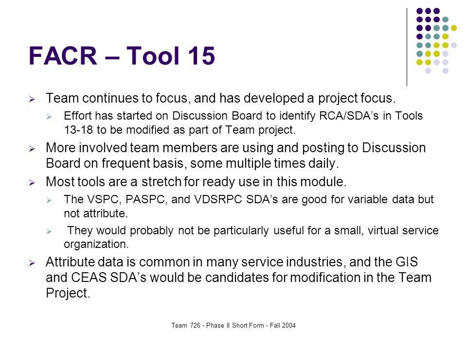 Team 726 - Phase II Short Form - Fall 2004 FACR – Tool 15  Team continues to focus, and has developed a project focus.