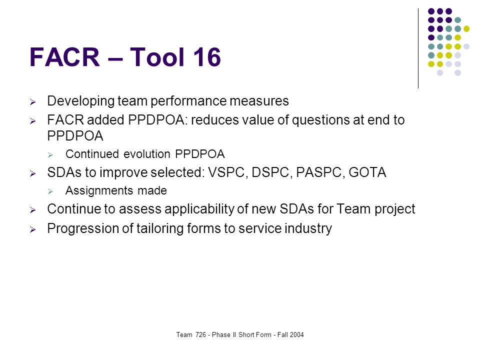Team 726 - Phase II Short Form - Fall 2004 FACR – Tool 16  Developing team performance measures  FACR added PPDPOA: reduces value of questions at end to PPDPOA  Continued evolution PPDPOA  SDAs to improve selected: VSPC, DSPC, PASPC, GOTA  Assignments made  Continue to assess applicability of new SDAs for Team project  Progression of tailoring forms to service industry