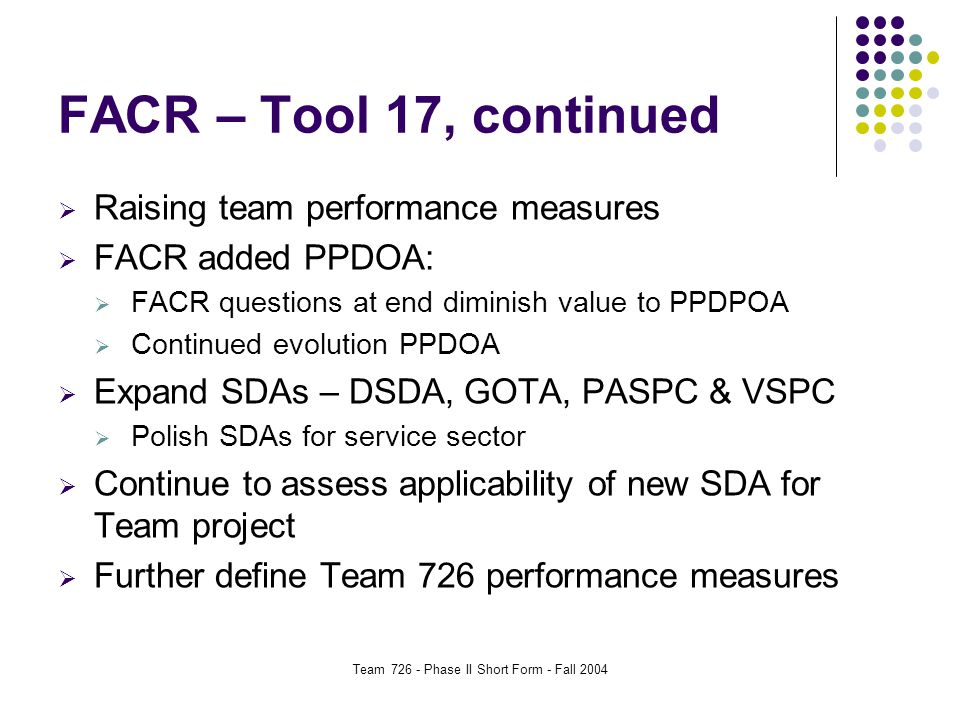 Team 726 - Phase II Short Form - Fall 2004 FACR – Tool 17, continued  Raising team performance measures  FACR added PPDOA:  FACR questions at end diminish value to PPDPOA  Continued evolution PPDOA  Expand SDAs – DSDA, GOTA, PASPC & VSPC  Polish SDAs for service sector  Continue to assess applicability of new SDA for Team project  Further define Team 726 performance measures