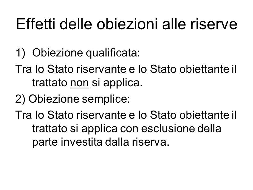 Effetti delle obiezioni alle riserve 1)Obiezione qualificata: Tra lo Stato riservante e lo Stato obiettante il trattato non si applica. 2) Obiezione s