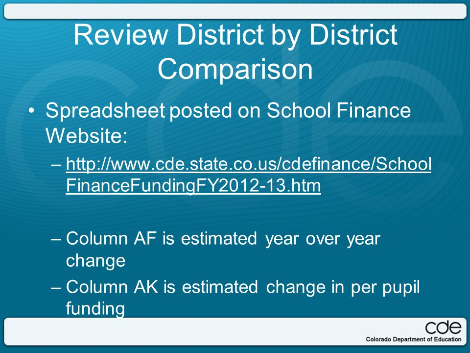 Review District by District Comparison Spreadsheet posted on School Finance Website: –http://www.cde.state.co.us/cdefinance/School FinanceFundingFY2012-13.htmhttp://www.cde.state.co.us/cdefinance/School FinanceFundingFY2012-13.htm –Column AF is estimated year over year change –Column AK is estimated change in per pupil funding