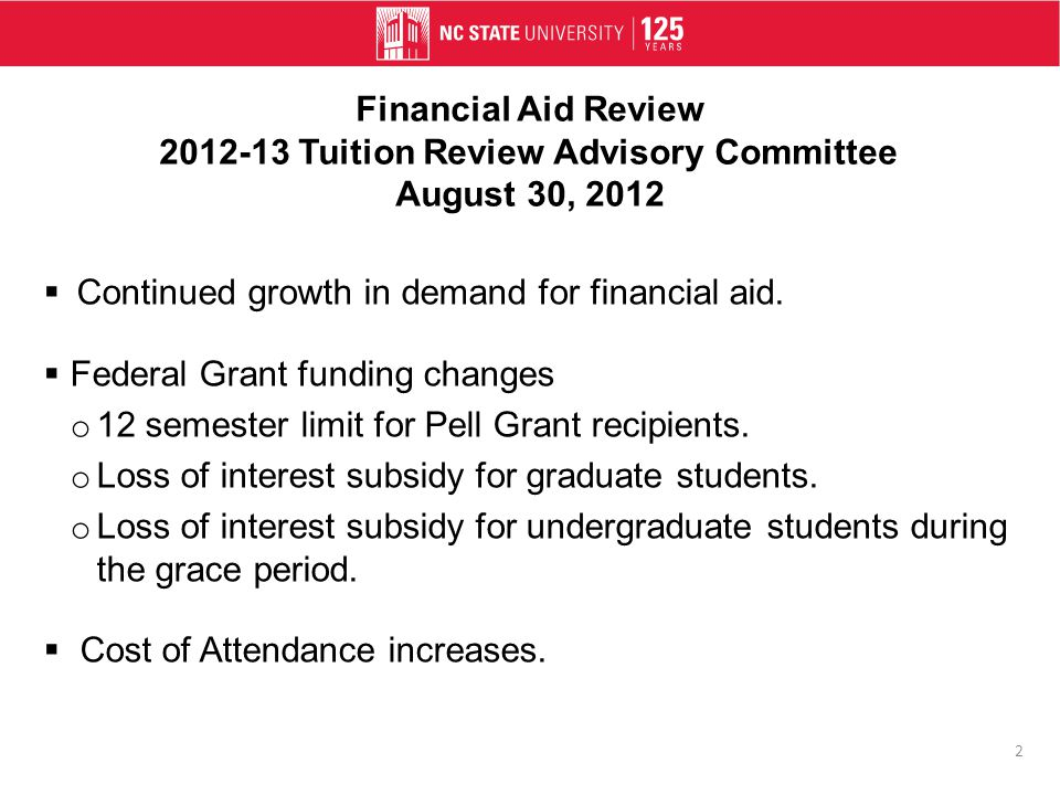 Financial Aid Review 2012-13 Tuition Review Advisory Committee August 30, 2012  Continued growth in demand for financial aid.