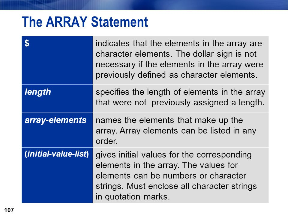 107 The ARRAY Statement $indicates that the elements in the array are character elements. The dollar sign is not necessary if the elements in the arra